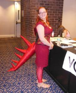 Morgan, dressed as a red dragon.