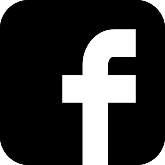 Facebook Icon. A white lower-case f on the left-bottom side of a black rounded square