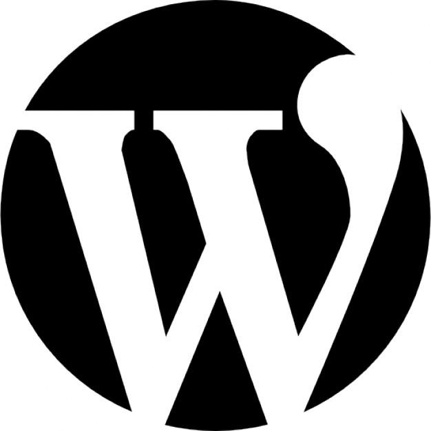 WordPress Logo. A white serif-font letter 'W' in a black circle.