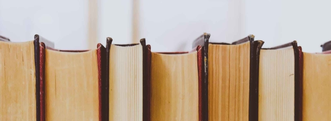 Coverless side of 7 thick books.
