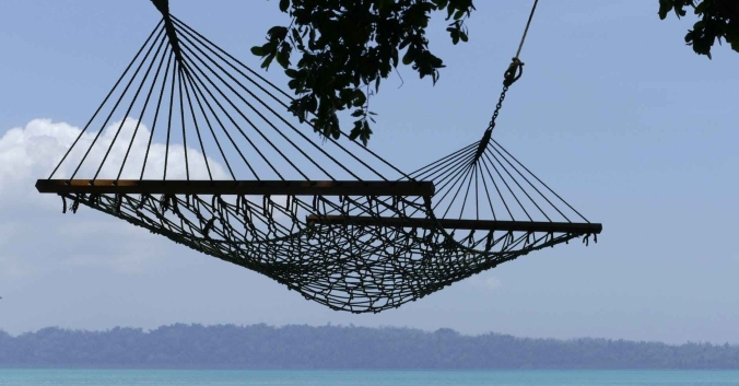 A hammock overlooks the water.