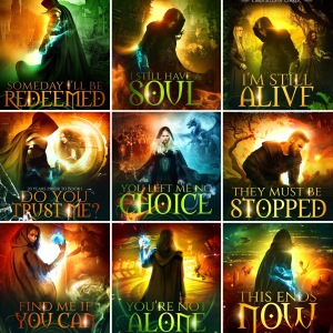 A collage of all 9 book covers from The Chronicles of Lorrek series: Someday I'll be Redeemed I Still Have a Soul I'm Still Alive Do You Trust Me You Left Me No Choice They Must Be Stopped Find Me If You Can You're Not Alone This Ends Now