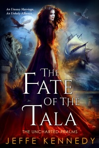 The Fate Of The Tala:  The cover has a pale skinned red-headed woman facing the reader. With hawks and flying beasts. And a sailing ship in the background.