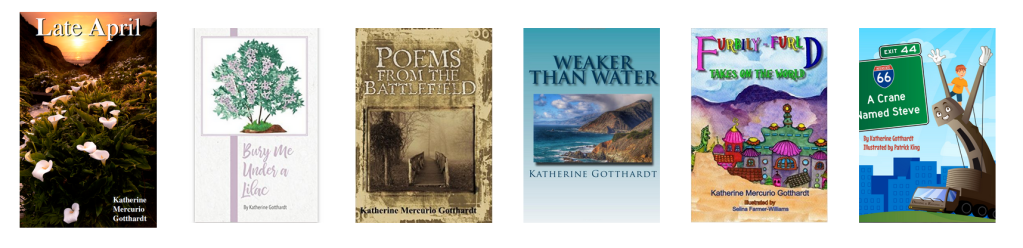 Katherine's other books: Poetry books: Late April Bury Me Under a Lilac Poems From The Battlefield Weaker Than Water  Kids books: Furbily-Furld Takes On The World A Crane Named Steve